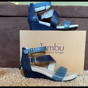 NIB-Jambu Leather Wedge Sandals